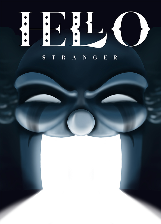 """Hello Stranger"" cinematic poster with a scary clown, text written with Sakasu Decorative and Display"