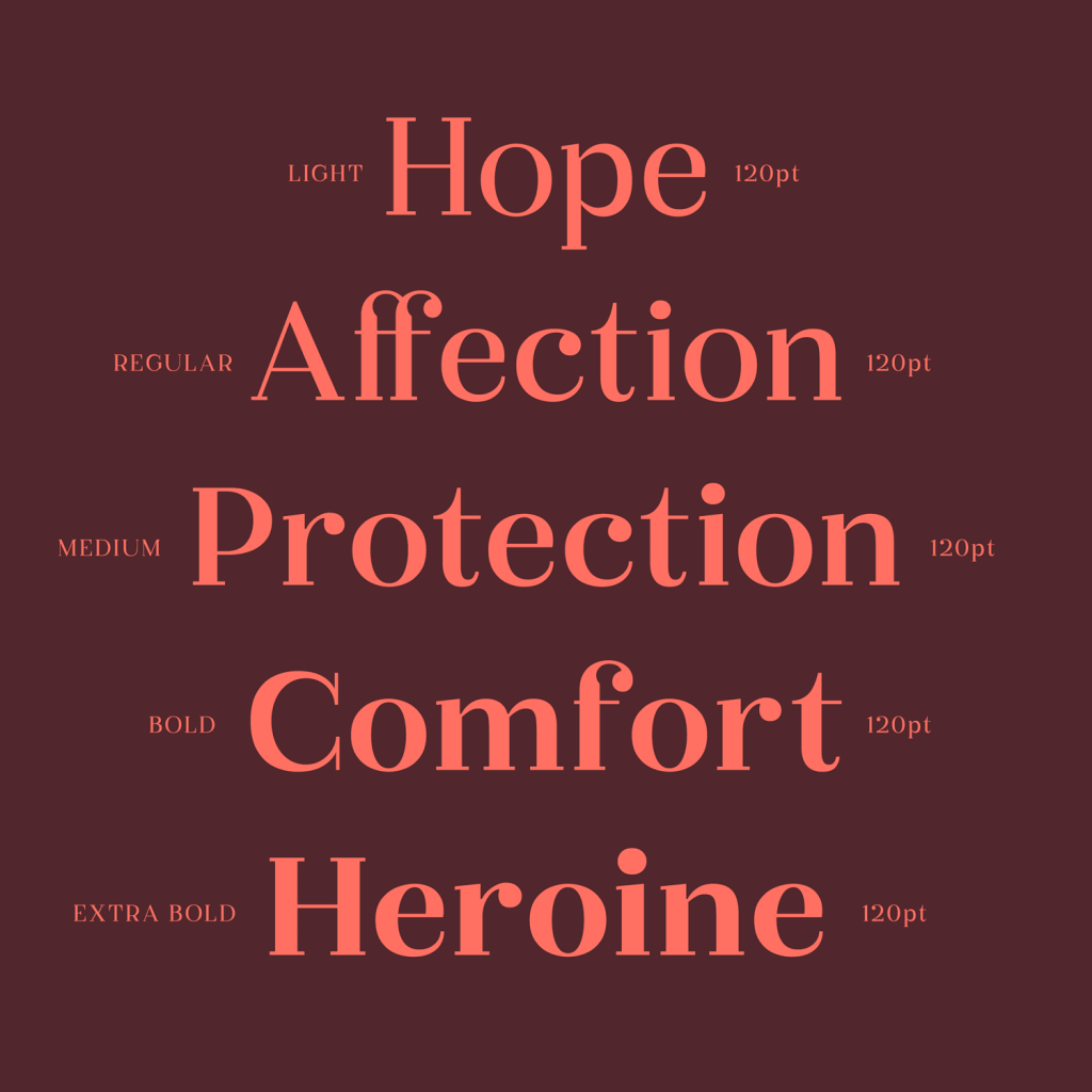 Five words: Hope, Affection, Protection, Comfort and Heroine, written in Okaasan Serif