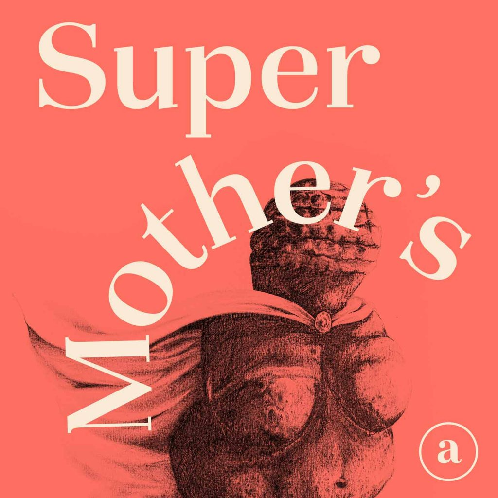 """Super mother's"" text in Okaasan Serif and Venus of Willendorf illustration"