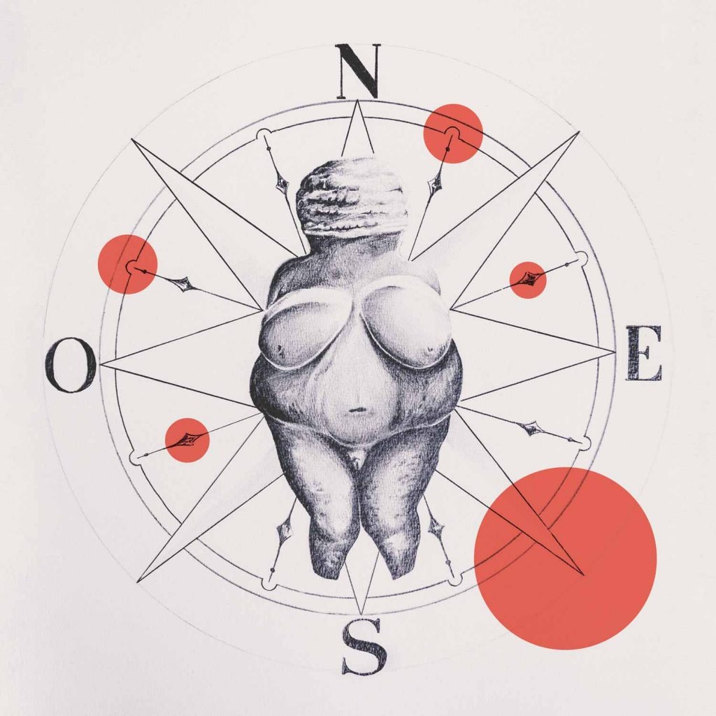 Venus of Willendorf illustration with compass and shapes