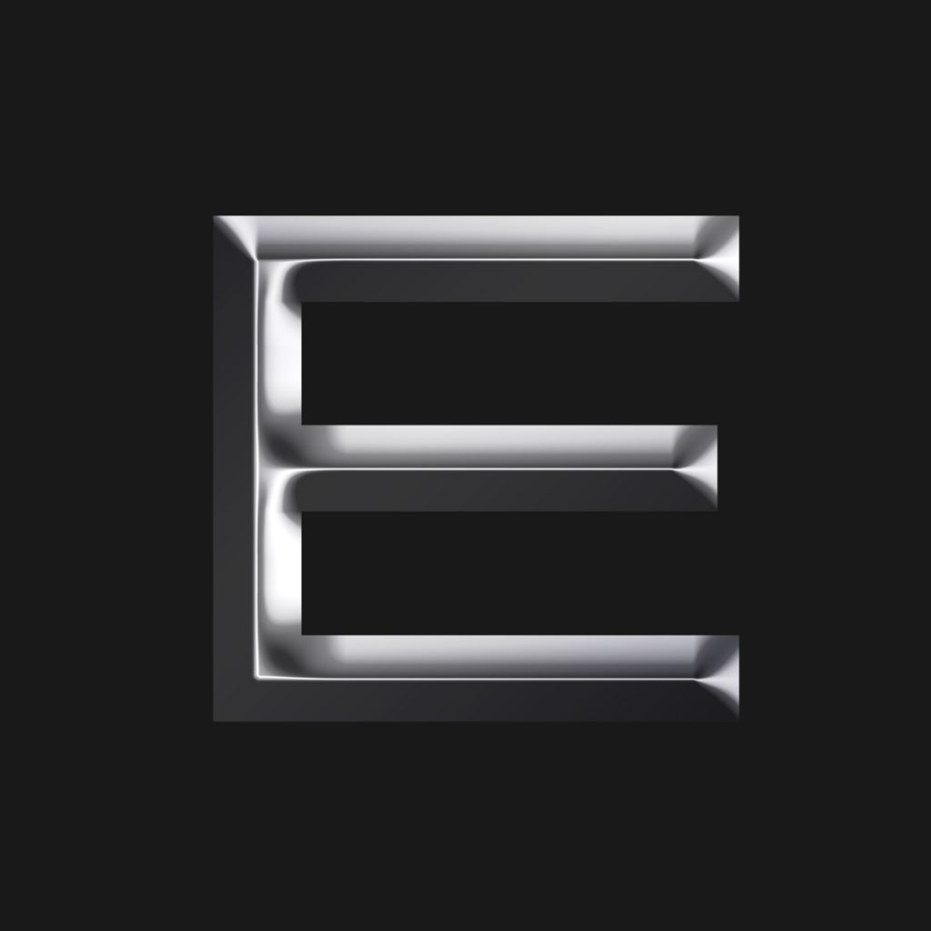 "Extruded metallic ""E"" letter using Kaito Sans"