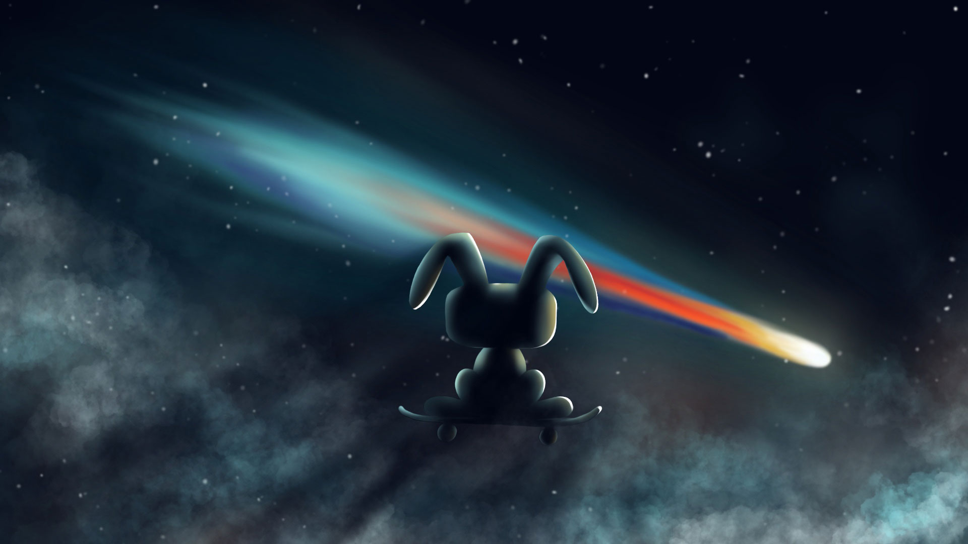 Meji the rabit observing the comet arriving from his skate