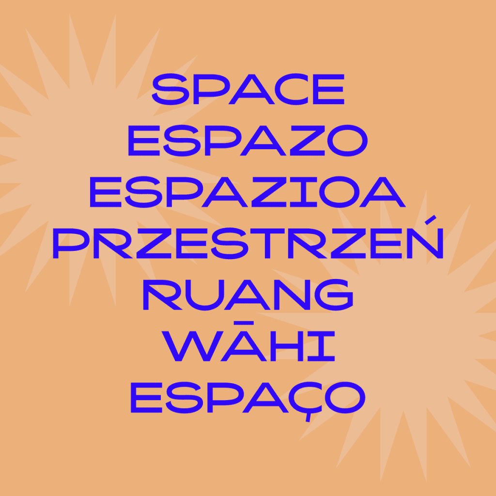 """Space"" word in several languages with Kaito Sans"