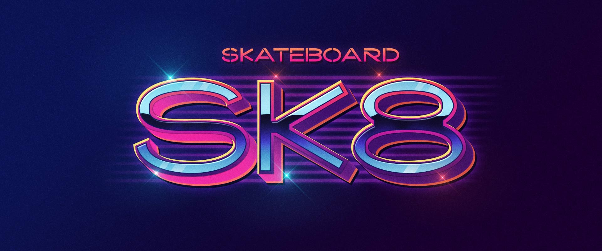 """SK8"" skate visuals with Kaito Sans in 80s style"