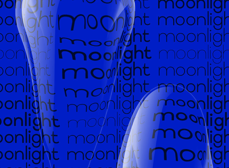 Moonlight word with shapes on Tsuku Sans Serif