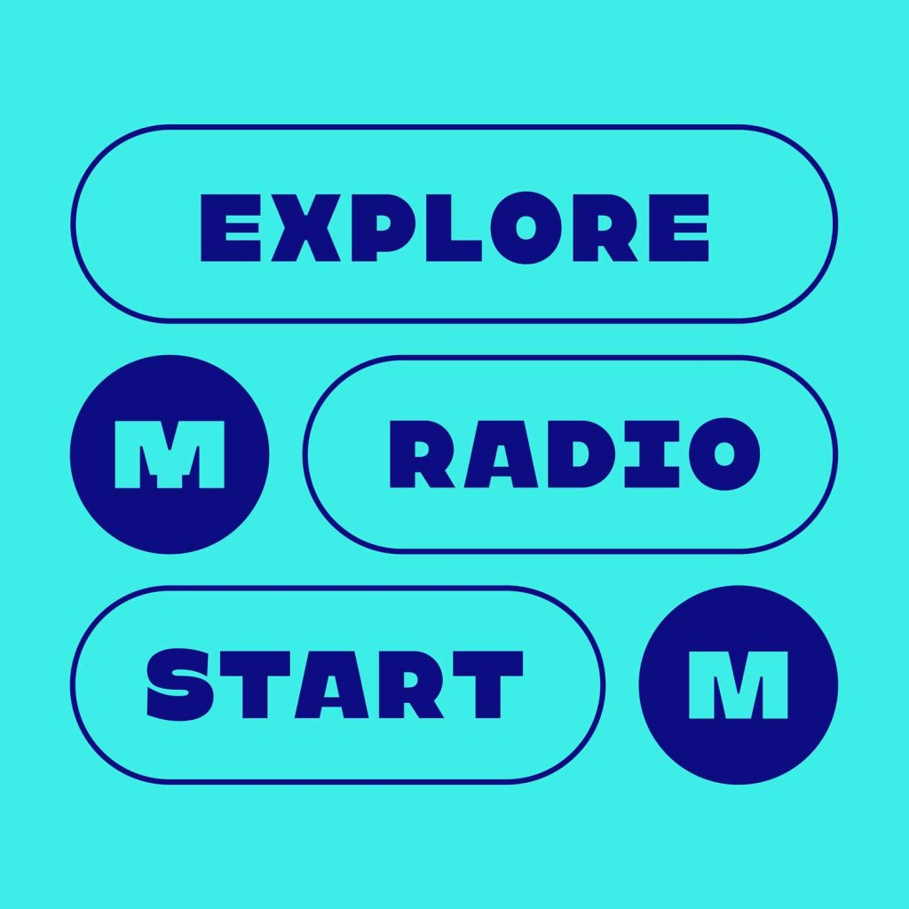 Explore, Radio, Start buttons in Kawaru typeface