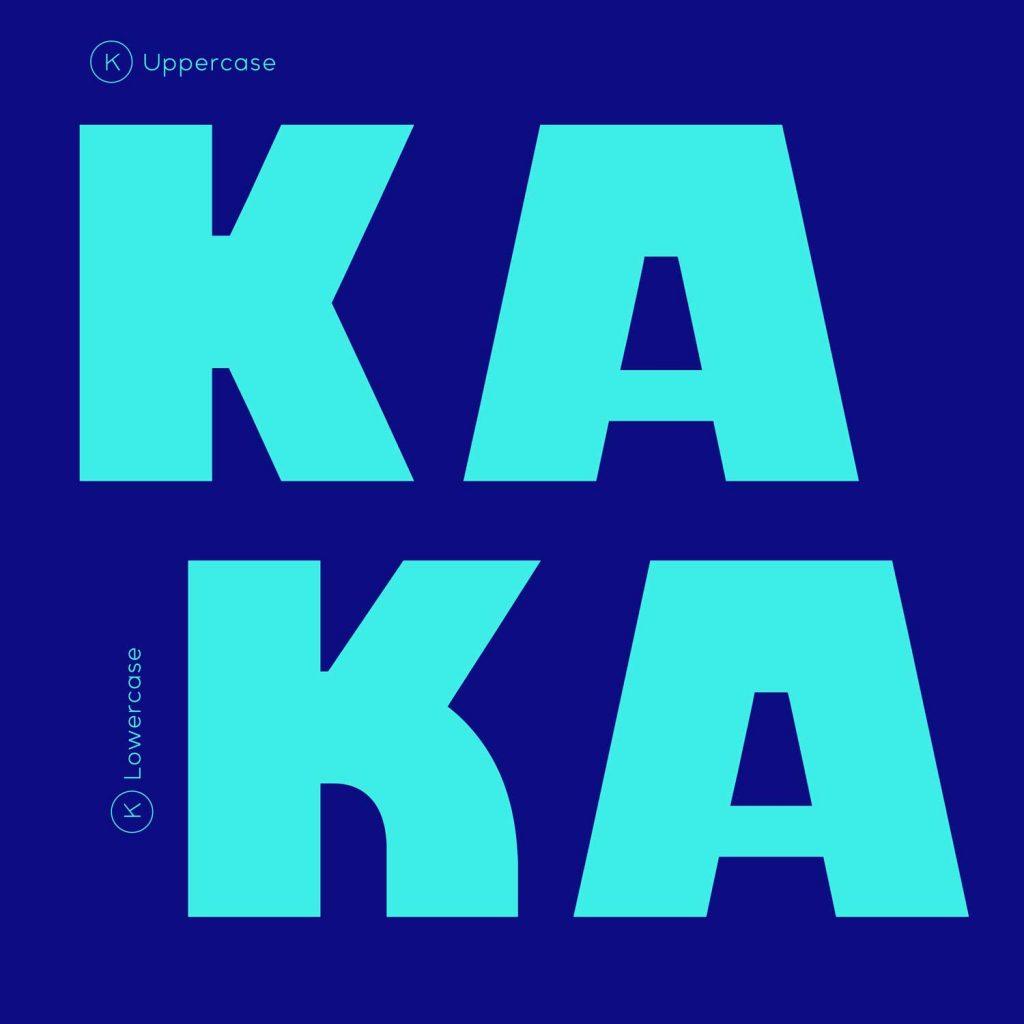 "Uppercase ""KA"" characters with Kawaru typeface"