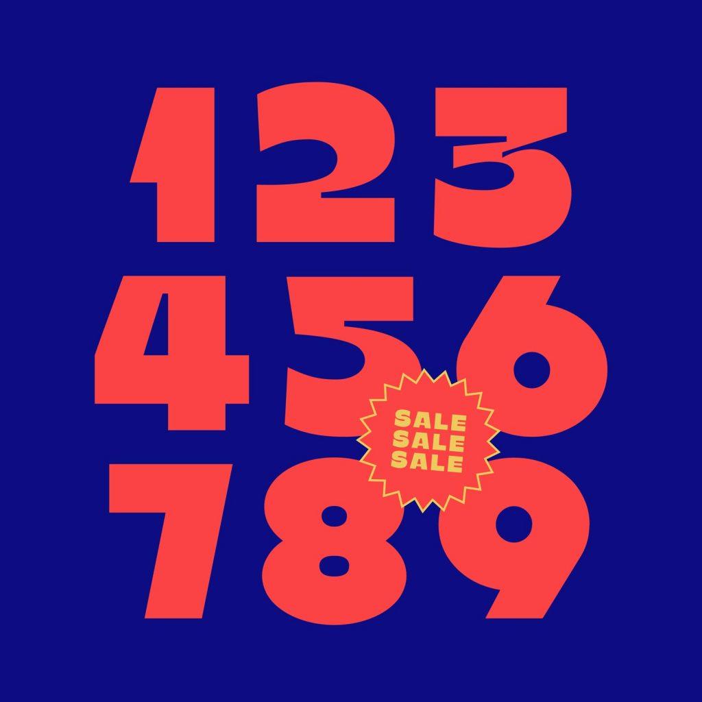 Numerals in Kawaru typeface