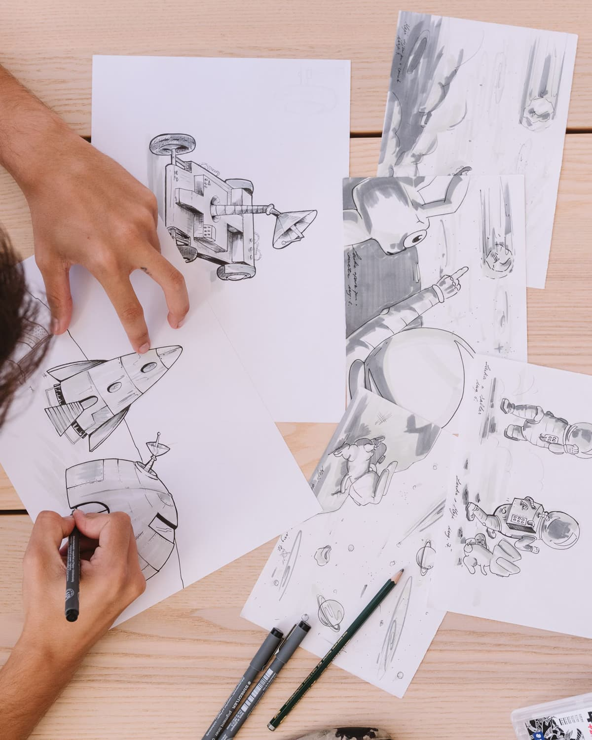 Gonçalo drawing scenes for The Meji Adventures